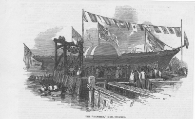 The launch of the paddle steamer Banshee, Illustrated London News