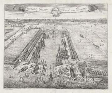 The Howland Great Wet Dock in 1705, before its name changed to Greenland Dock and it was extended. Source: Portcities website.
