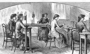 """""""The Telephone Exchange in London."""" Illustrated London News."""