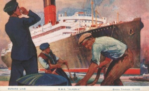 1925 postcard showing the Cunard ship Alaunia, one of the Cunard A-Class ships that were based at Greenland Dock