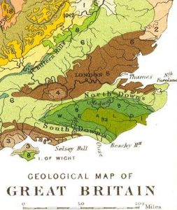 The Thames Basin. Geological Map of Great Britain 1904 by Horace B Woodward. Public Domain.