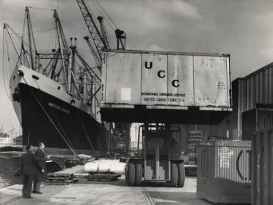 Container Cargoes, Royal Victoria Docks 1964.  Source: Museum of London via Lansbury Micro Museum.