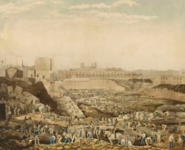 William Ranwell's painting of St Katherine's Dock under construction in 1828. Sourced from the PortCities website.