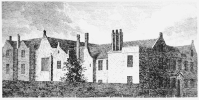 The Almshouses, at around 1798. Public Domain.